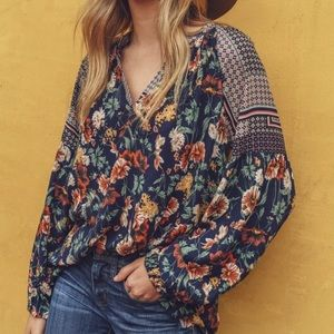Boho Floral Print Long Sleeve Top